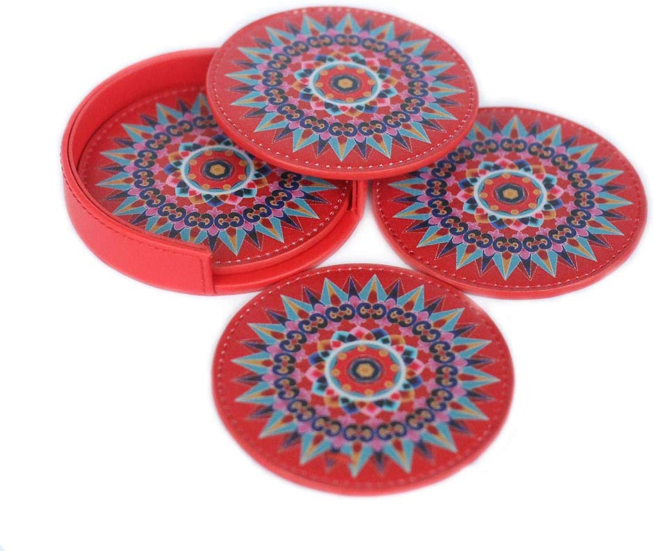 Leather Coaster Oxcart Wheel (Red) Set of 4 with Holder Protects Furniture from Water Spills, Wine, Coffee