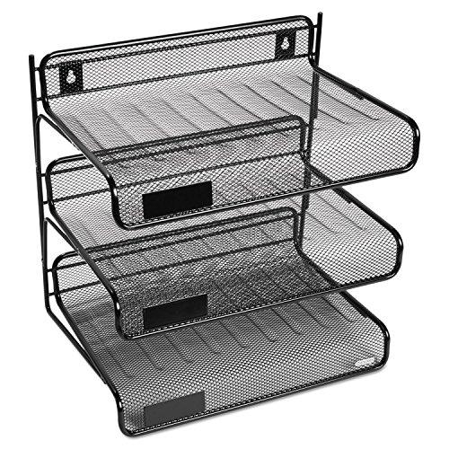 Rolodex 22341 Mesh Three-Tier Letter Size Desk Shelf 10 x 7 x 9 3/8 Black ()
