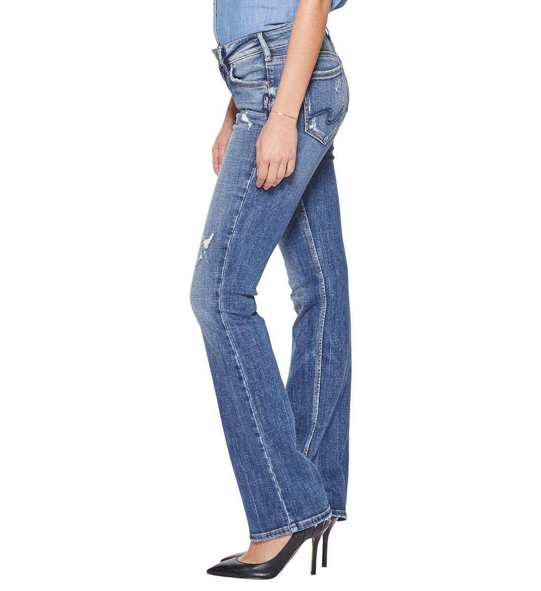 Silver Jeans Co. Women's Suki Curvy Fit Mid Rise Slim Bootcut, Medium Indigo, 30Wx 33L