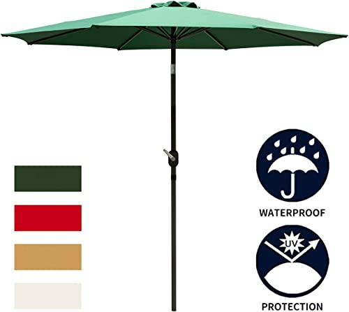 Ainfox 9FT Green Patio Umbrella, Outdoor Table Umbrella Yard Umbrella with 8 Steel Umbrella Ribs,Push Button Tilt, Waterproof Prevent Bask in for Garden, Indoor, Outdoor Without Base Green
