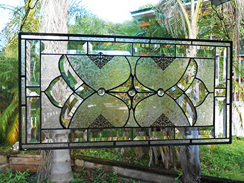 - Stained Glass Panel, Traditional Vintage Look Window Transom, Beveled Glass Valance, OOAK Crystal Window Treatment, Stained Glass Window