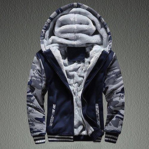 con abrigo hombre lana invierno la de abrigos capucha cremallera campera de Azul OverDose de FXH8x5w