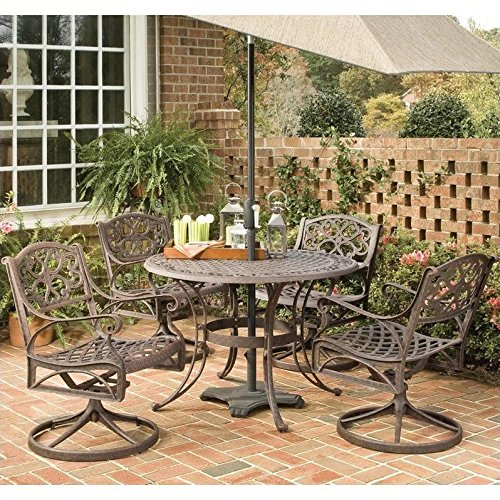 Home Styles 5555-305 Biscayne 5-Piece Outdoor Dining Set, Rust Bronze Finish, 42-Inch by Home Styles