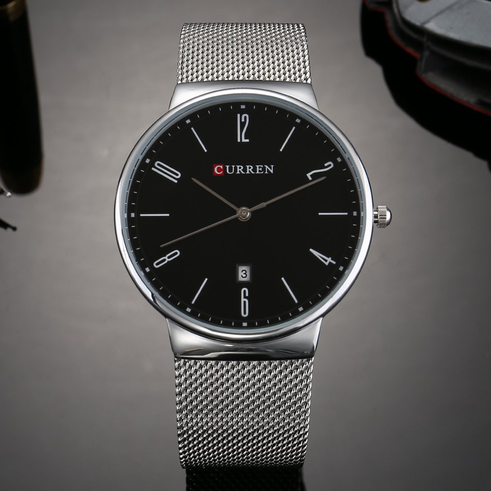 Amazon.com: CURREN 8257 (Silver Black) Mens Unisex-adult Waterproof Stainless Steel Date Good Quality Watch: Watches