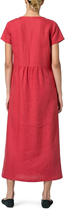 d818ff64ef Vivid Linen Short Sleeve Dress-XS-Apple Red at Amazon Women s ...