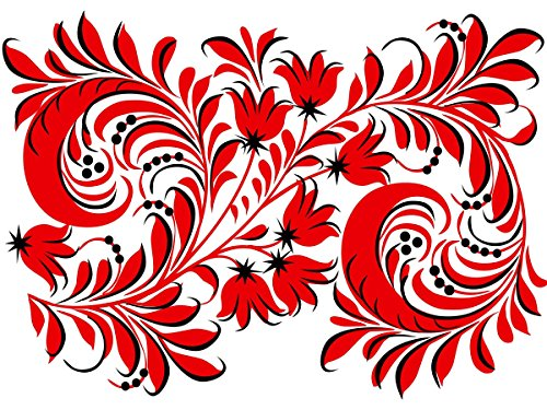 Russian Folk Painting Patterns Flower red Black Accent Tile Mural Kitchen Bathroom Wall Backsplash Behind Stove Range Sink Splashback One Tile 8