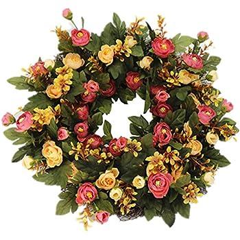wreaths for front doorsAmazoncom Decorative Burgundy Silk Seasonal Front Door Wreath 22
