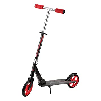 Windgoo Professional Freestyle Scooter, Safe Skateboard Patinete para niños y Adultos, Ajustable la Altura Scooter Plegable (Black-F1)