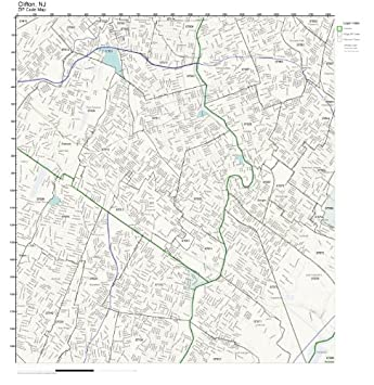 Amazon Com Zip Code Wall Map Of Clifton Nj Zip Code Map Laminated