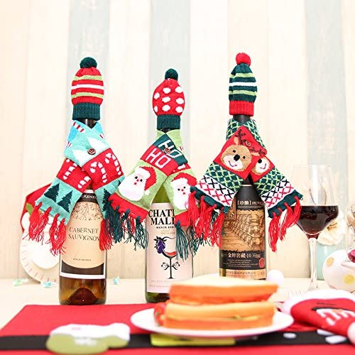 Santa Hat and Scarf Christmas Wine Bottle Cover Table Party Xmas Ornaments