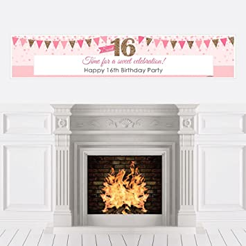 Amazoncom Sweet 16 16th Birthday Decorations Party Banner