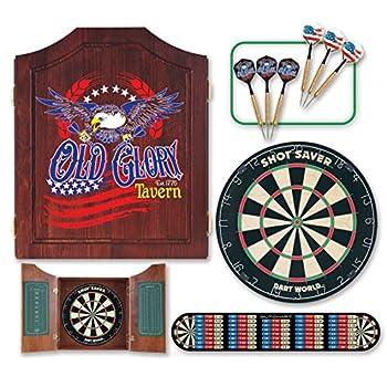 Image of Cabinets Dart World Old Glory Kit with Tournament Quality Shot Saver Dartboard (2 Sets)