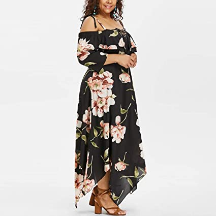 f46f0204226 Cuekondy Women Summer Plus Size Floral Dress 2019 Fashion Casual Off  Shoulder Sling Beach Party Long Maxi Dresses at Amazon Women s Clothing  store