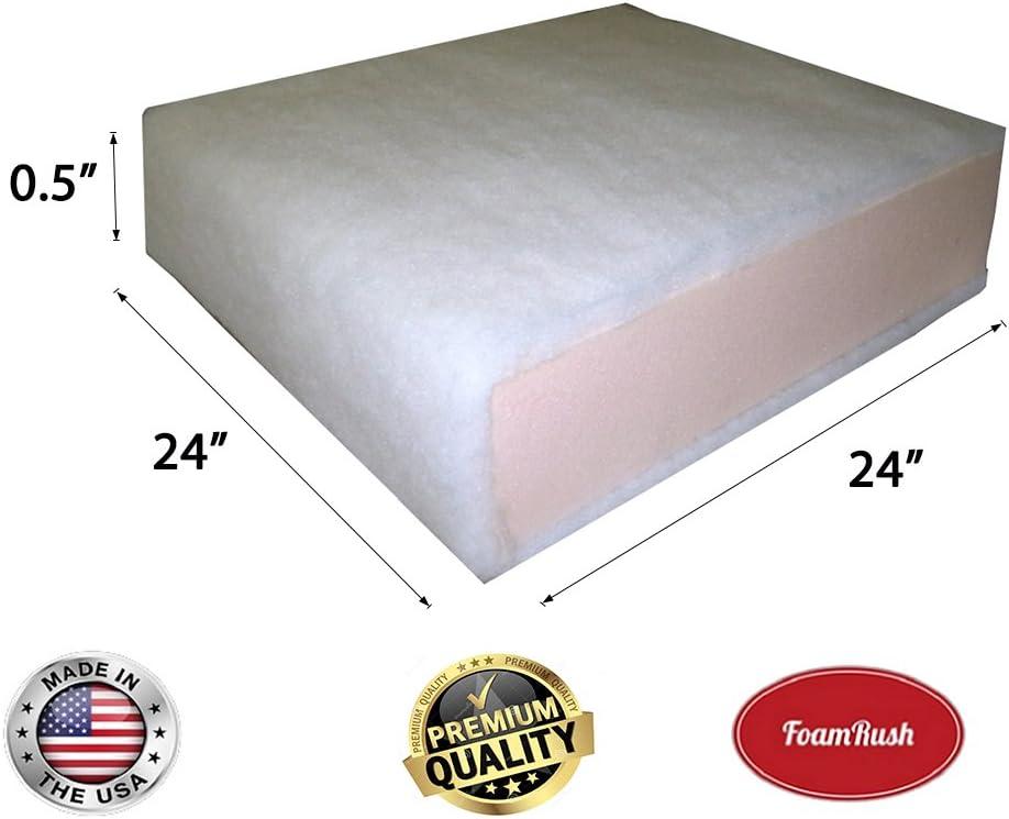 Cushion Seat Replacement FoamRush 5 x 24 x 24 Seat Cushion Foam with Batting//Dacron Made in USA