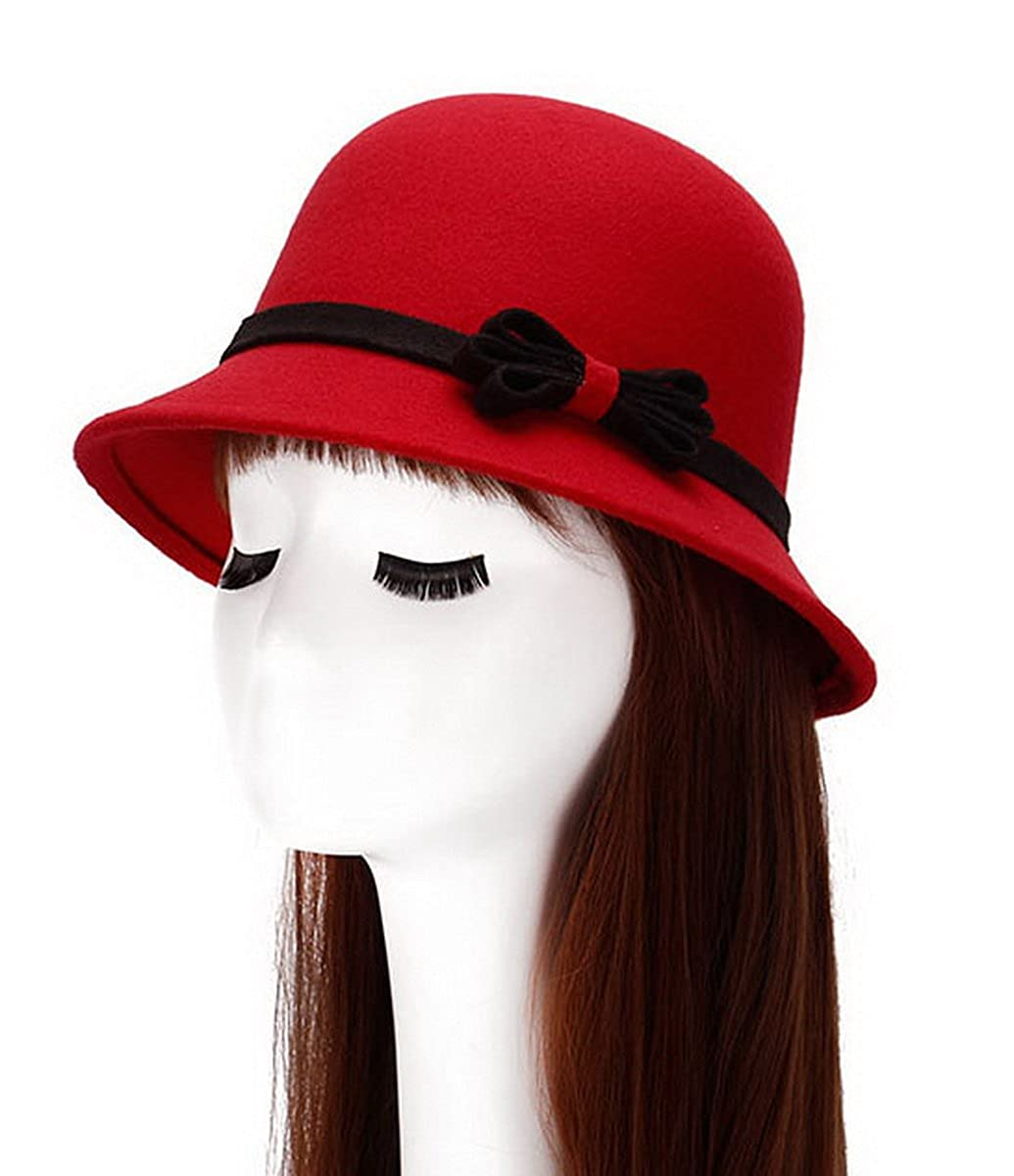 Brcus Women Wool Felt Church Cloche Cap Bucket Bowler Hat Cap W/Bowknot Band