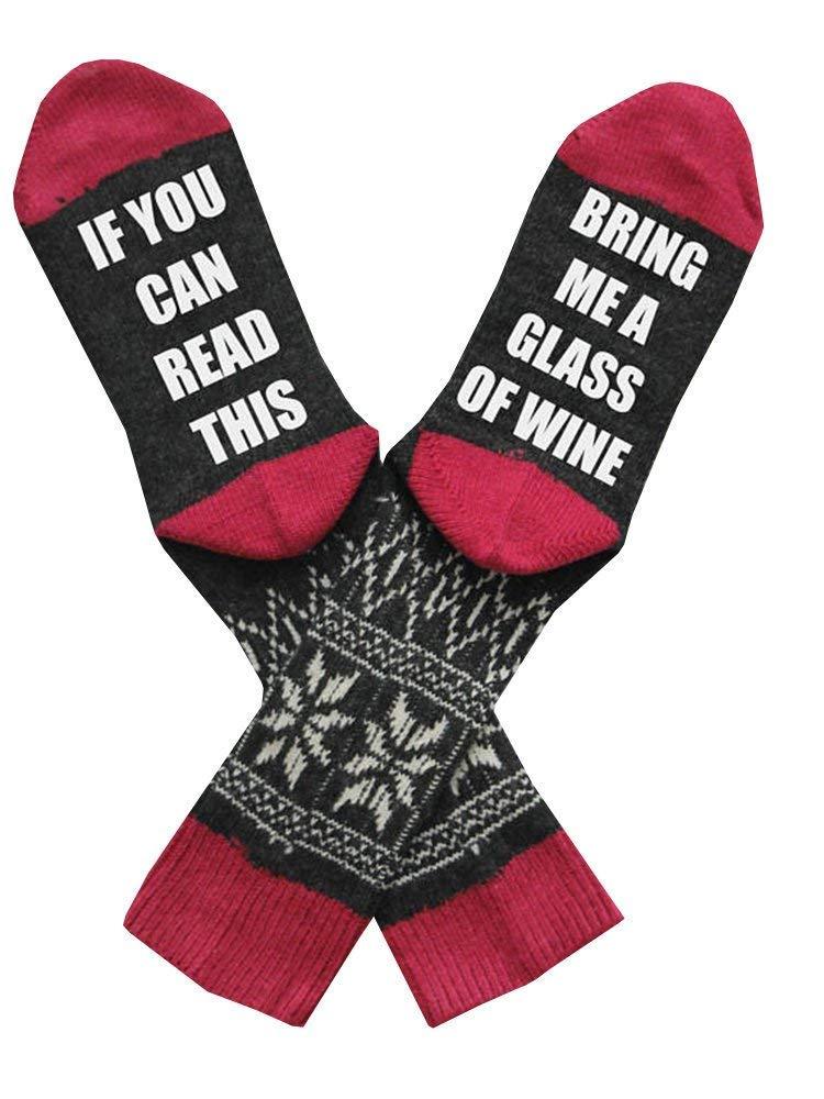 Womens Funny Socks Wine Funky Soft Unisex Casual Cotton Novelty Crew Socks for Men