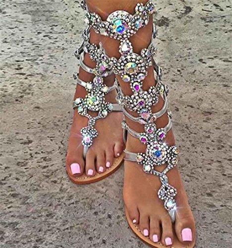 Cristal de Strass Le Soirée de Femme de Fille Cadeau personnalité HETAO Talons Chaussures à la de Mariée Pointue en Satin Soirée avec Silver la Hauts qHFTEw