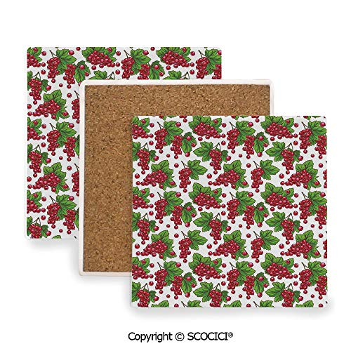 Ceramic Coasters with Cork Base, Prevent Furniture from Dirty and Scratched, Suitable for Kinds of Mugs and Cups,Spring,Redcurrant Branches with Leaves Grape Harvest,3.9