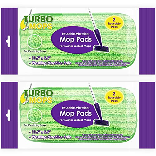 (Reusable Mop Pads Fit Swiffer WetJet - Washable Microfiber Mop Pad Refills by Turbo - 12 Inch Floor Cleaning Pads Fit Both Dry Mops and Wet Jet Mop Heads - 4 Pack)