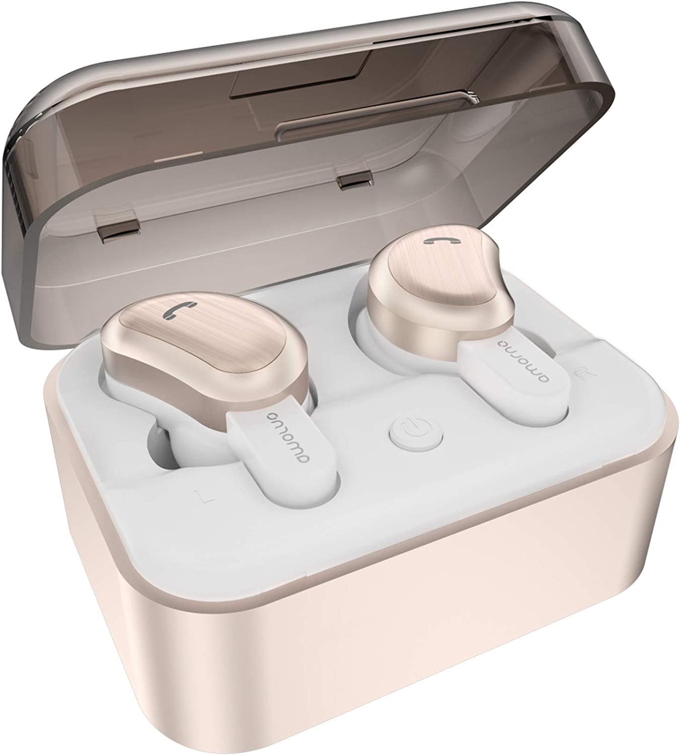 Wireless Earbuds, AMORNO True Bluetooth Headphones in-Ear Deep Bass Noise Cancelling Earphones Mini Sweatproof Sports Headsets with Charging Case Built-in Mic