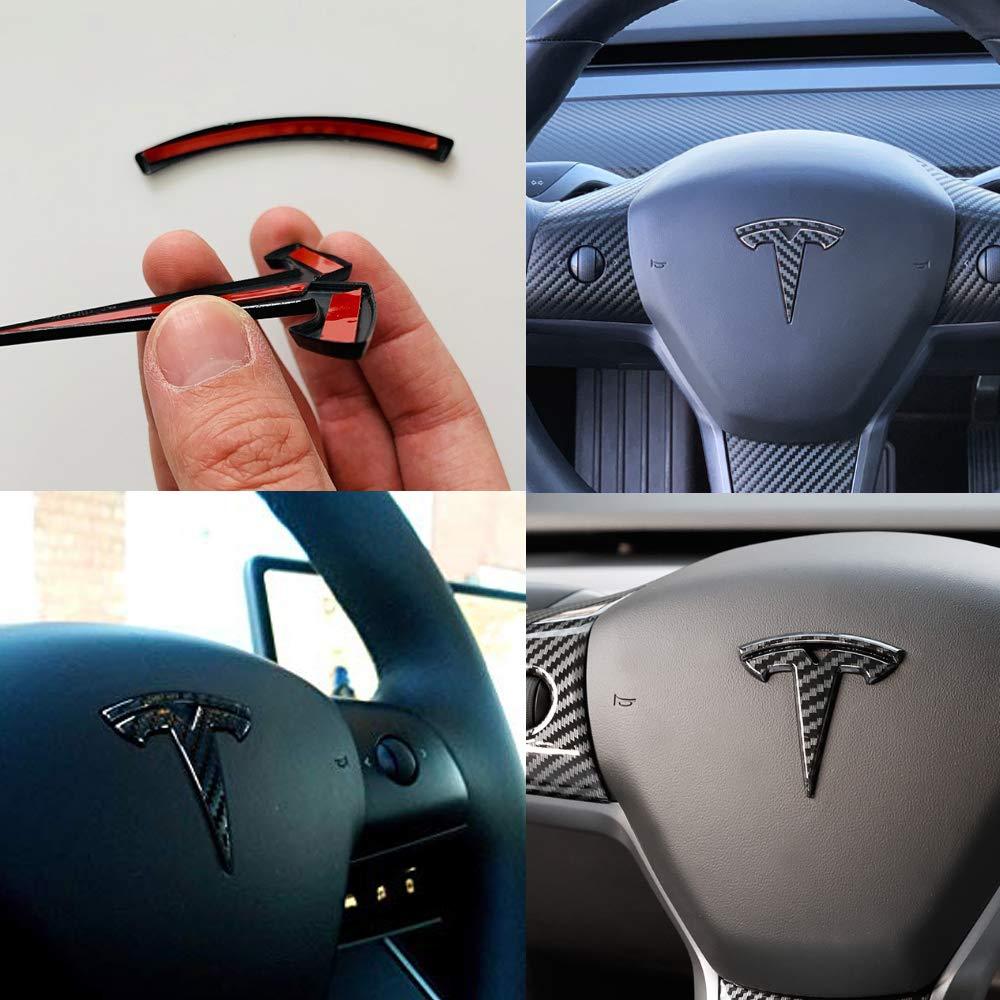 CoolKo Tesla Personalized Modification Steering Wheel Label Decorative Logo Stickers for Model 3 Black Piano