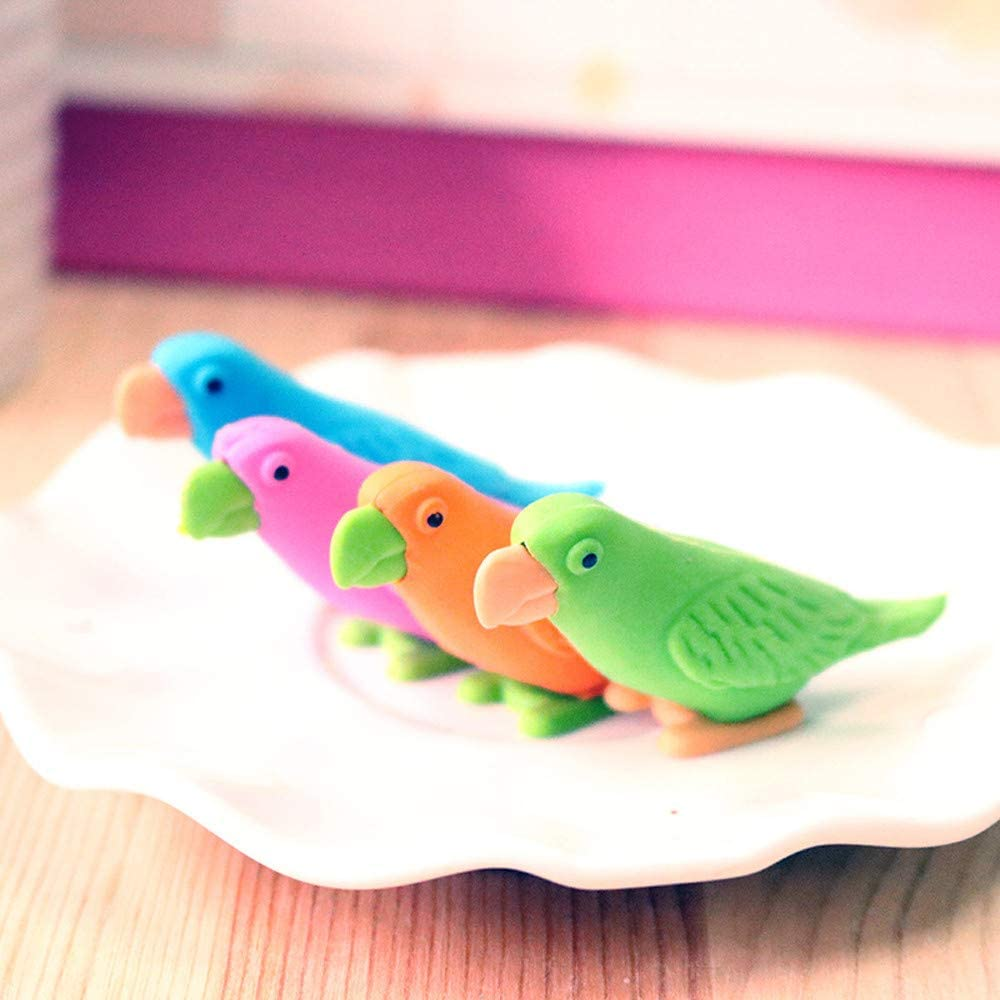 QHB Pencil Eraser 1PCS Novelty Cute Parrot Pencil Eraser For Writing School Nursery Gift Stationery