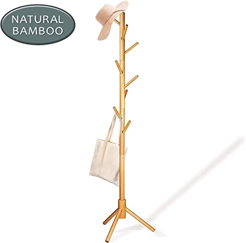 Deluxe Wooden Coat Rack Tree 8 Hook Adjustable Height Hat, Jacket and Sweater Hanging Stand Easy Assembly Elegant Design for Home or Office Hall and Entryway