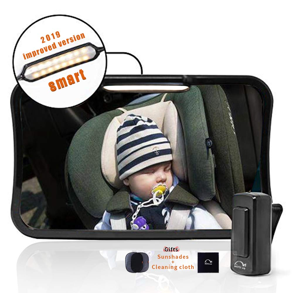 Moyu Home Infant Rear Facing Car Seat Mirror | Adjustable Smart Dual Mode LED Light with Remote | Crystal Clear View with 360 Degree Pivot | Full Assembled with Shatterproof Glass Black by MOYU HOME