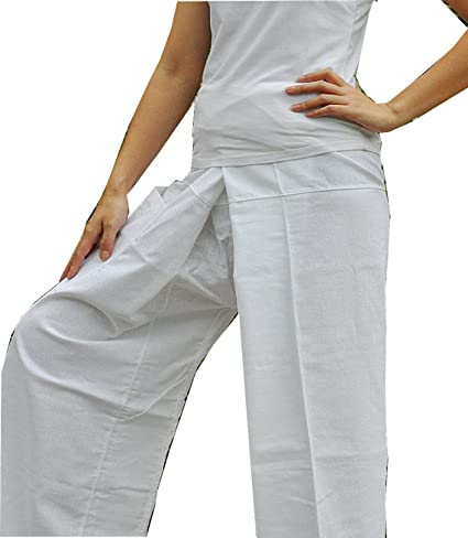 9fed1577389 Image Unavailable. Image not available for. Color  Beautiful Pure White Yoga  Pants Thai Fisherman Trousers ...