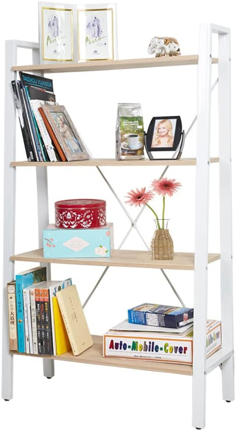Dporticus 4 Tier Modern Ladder Bookshelf Free Standing Open Bookcase Storage Shelf Units Display Stand, Oak and White, 31.4 L x13 W x52.5 H