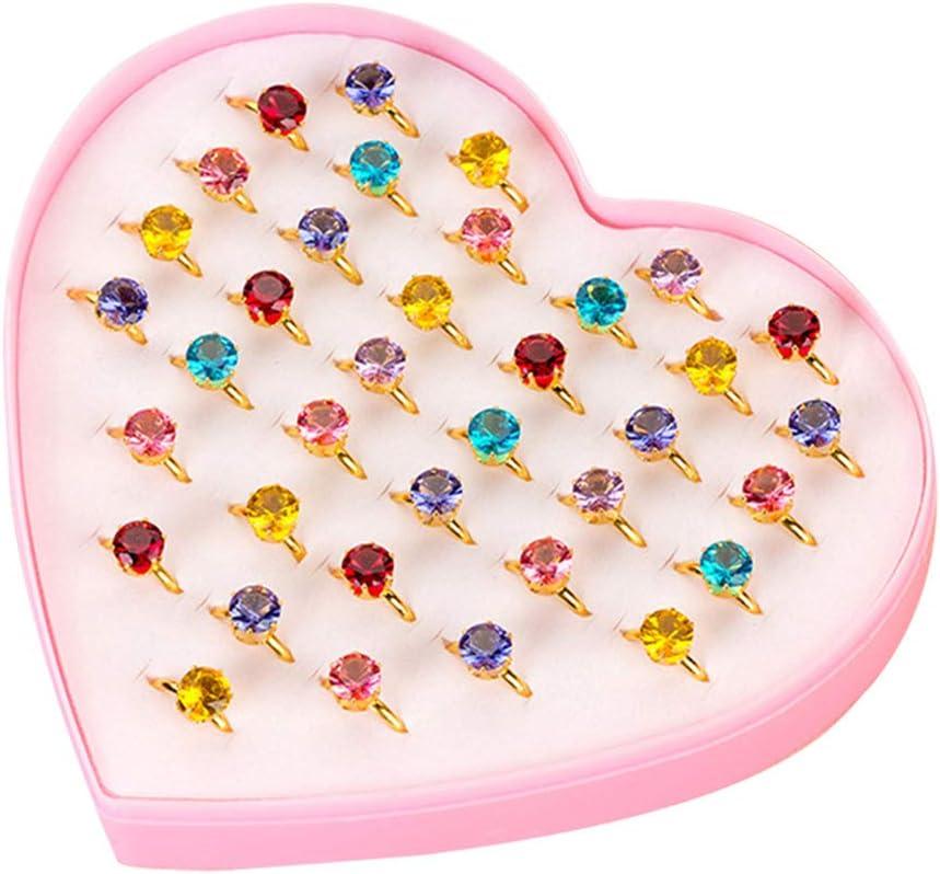 Toyvian 36pcs niña Joya Anillos Anillos de Diamantes Juguetes Vestir Anillos favores de Fiesta para niños (Color Diamante)