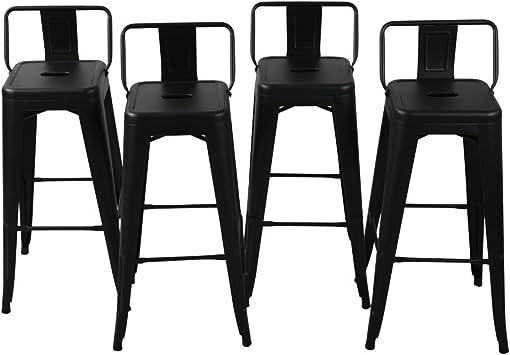 Amazon Com Belleze 30 Inch Barstools Bar Stools Low Back Set Of 4 Black Furniture Decor