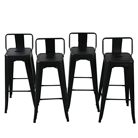 Awesome Belleze 24 Inch Low Back Indoor And Outdoor Chair Counter Height Stools Black Set Of 4 Caraccident5 Cool Chair Designs And Ideas Caraccident5Info