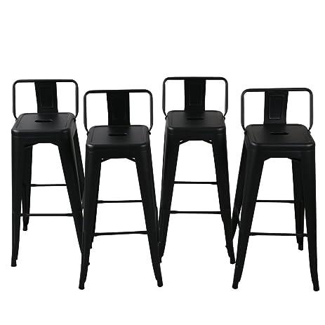 belleze 30inch barstools bar stools low back set of 4 black