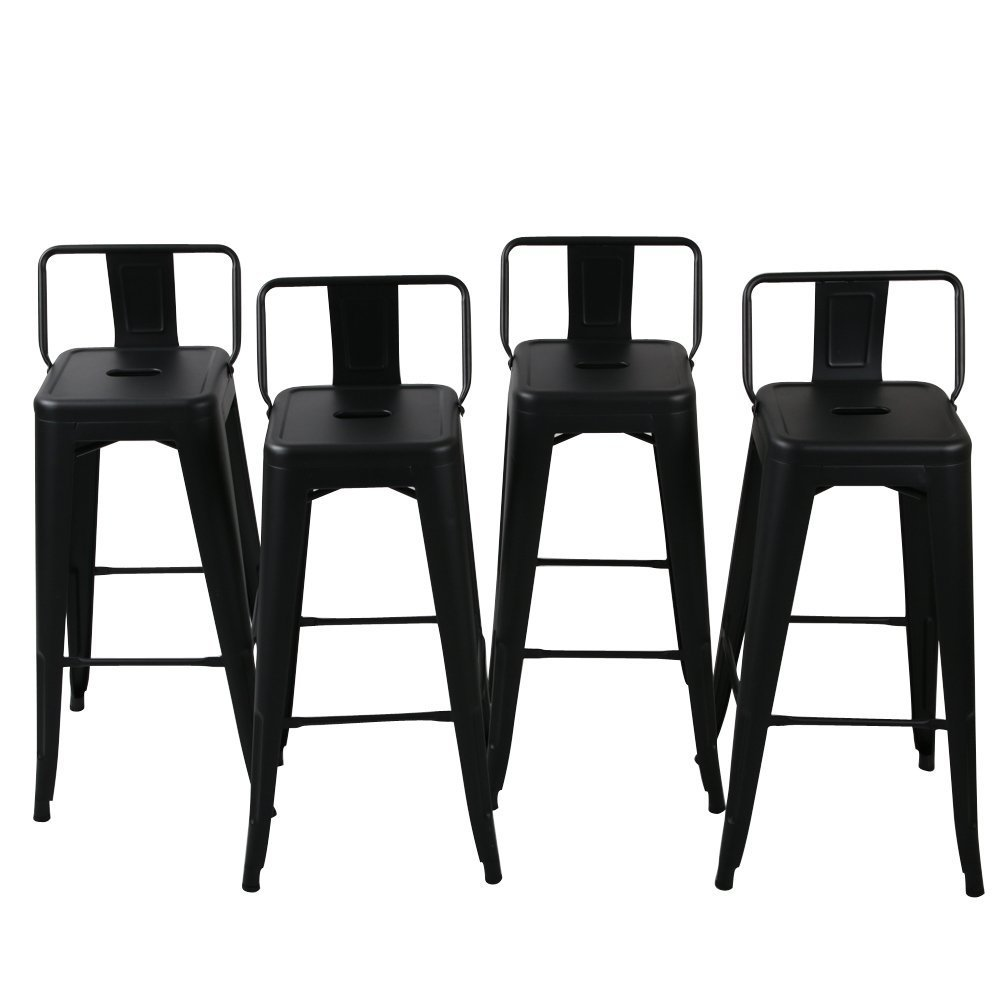 Belleze 24''-inch Low Back Indoor and Outdoor Chair Counter Height Stools Black (Set of 4)