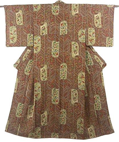 孤児カテナほのかリサイクル 着物 小紋 花喰い鳥や唐花模様 正絹 袷 裄62cm 身丈155cm