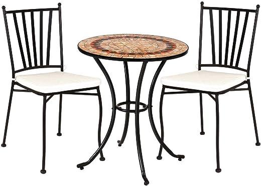 Conjunto de Mesa y sillas para jardín marrón de cerámica Garden - LOLAhome: Amazon.es: Jardín