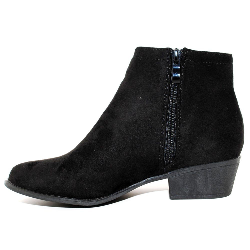 TRENDSup Collection Womens Western Inside Zipper Stacked Heel Ankle Booties