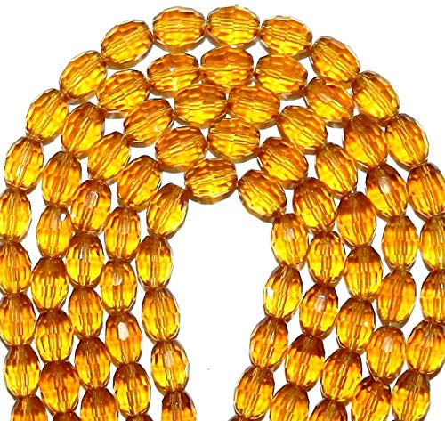 Bead Jewelry Making Yellow Topaz 12mm Faceted Oval Reconstituted Gemstone Crystal Glass Beads