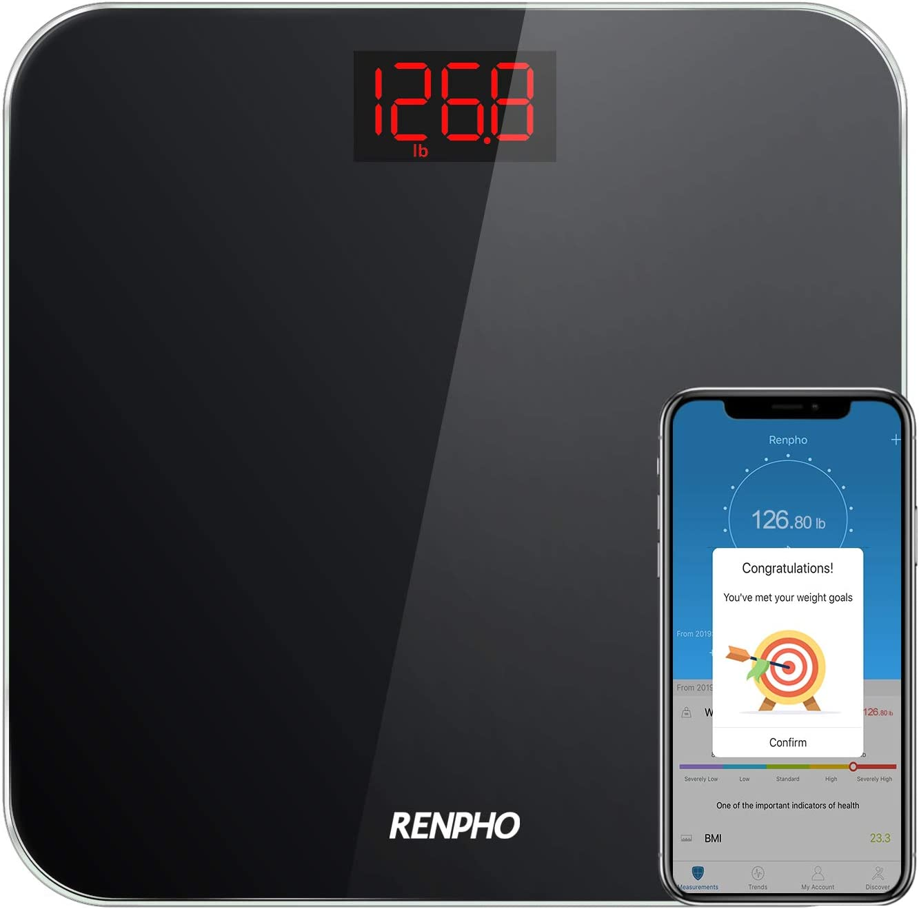 RENPHO Bluetooth Báscula de Baño Peso Digital con IMC, Báscula de Pesaje Inteligente con Aplicación de Teléfono Inteligente y LED Retroiluminado Fácil de Leer, Vidrio Templado Resistente, 400 lb,Negro