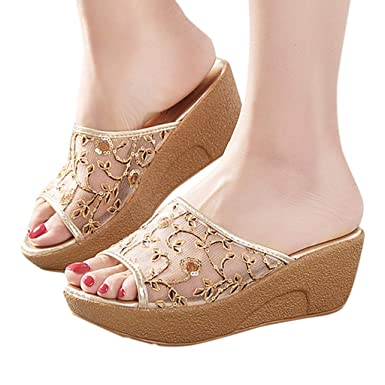 9efbea896742c Amazon.com: Sunhusing Ladies Tulle Lace Embroider Patchwork Wedges ...