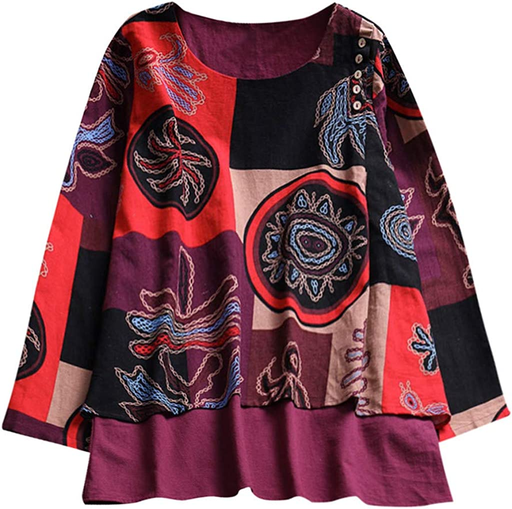 S-5XL Doublelift Womens Loose Long Sleeve Tops Boho Sweaters Vintage Bohemian Blouse Plus Size