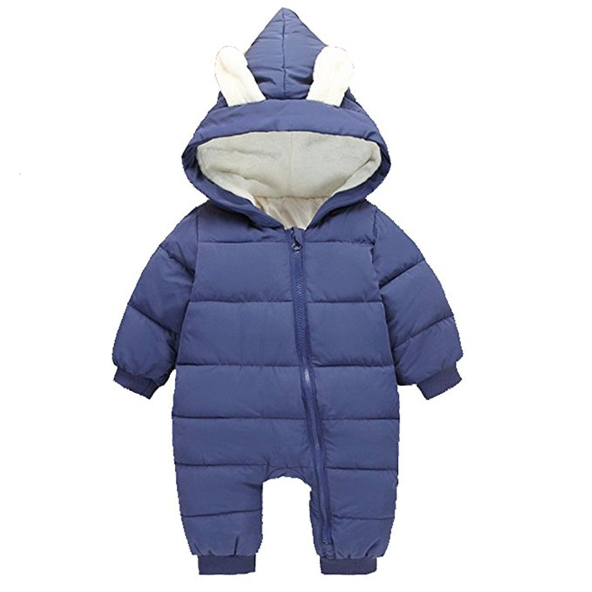 Baby Girls Boys One Piece Winter Hooded Warm Puffer Onesies SnugglyJumpsuit Snowsuit Romper