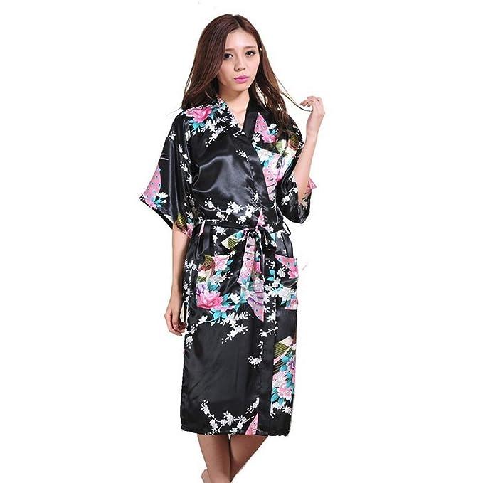Amazon.com: Silk Robe Kimono, Blue Wedding RobeChinese ...