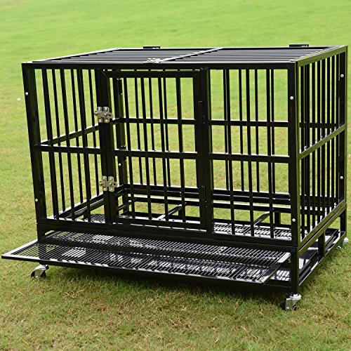 Bestmart INC 37″ Heavy Duty Dog Cage Crate Kennel Metal Pet Playpen Portable w/ Tray NEW (36.3″(L) x 24.2″(W) x 29.1″ (H))