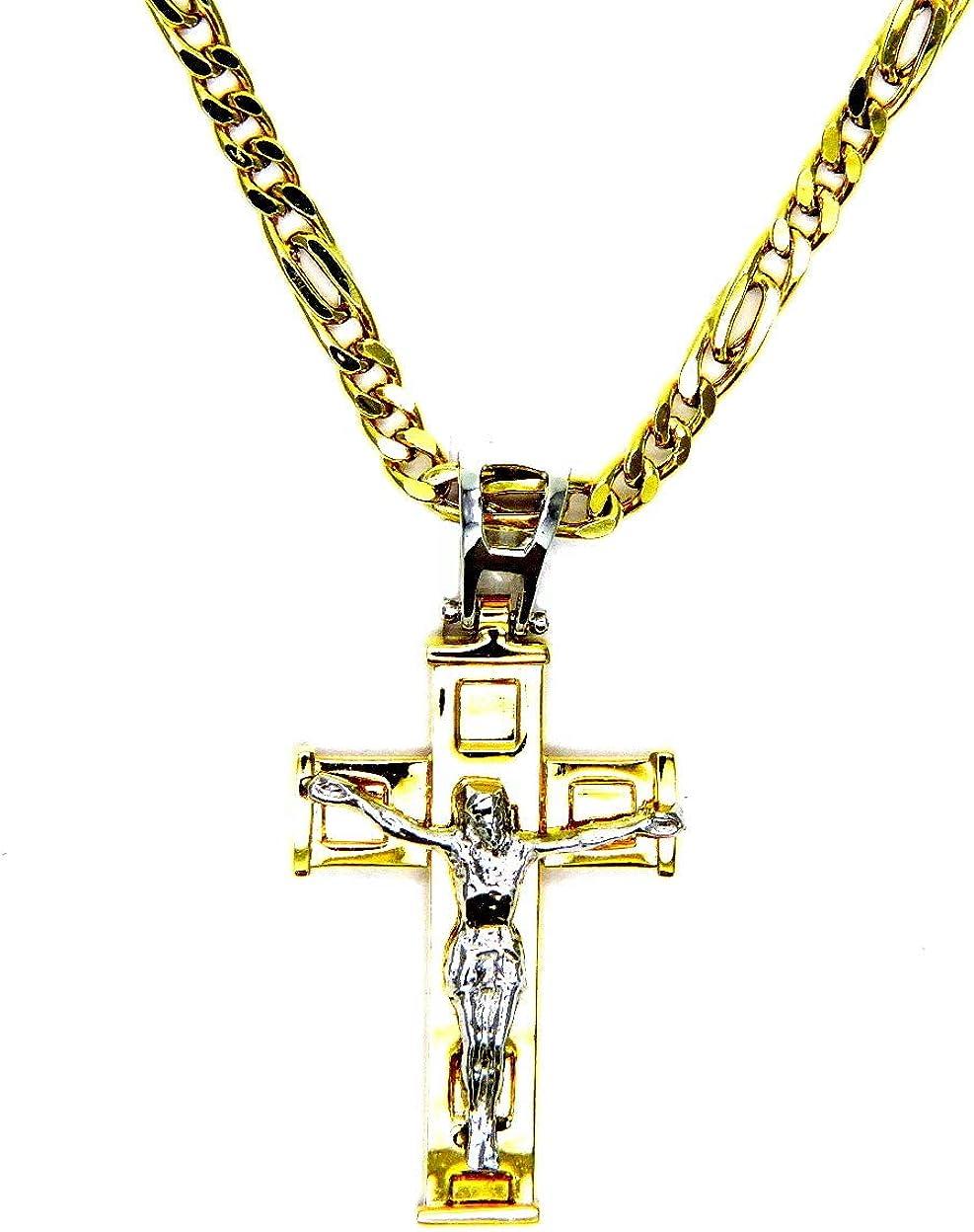 Collar de oro amarillo de 18 quilates (750) con cadena y colgante de cruz de cristal bicolor para hombre y mujer de 50 cm