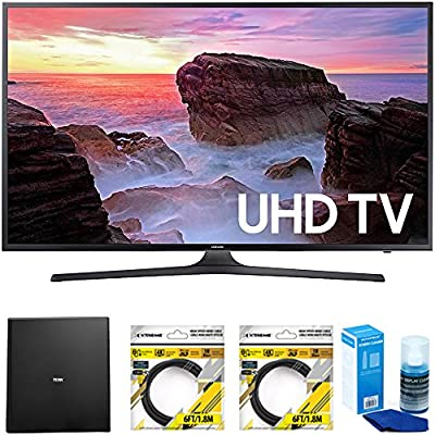 "Samsung 65"" 4K HDR Ultra HD Smart LED TV 2017 Model (UN65MU6300FXZA) with Terk Indoor Flat 4K HDTV Multi-Directional Antenna, 2x 6ft HDMI Cable & Universal Screen Cleaner for LED TVs"