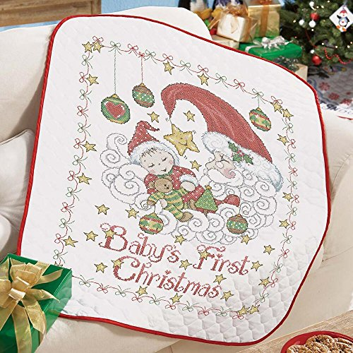 Baby by Herrschners Pre-Quilted Baby's First Christmas Baby Quilt Stamped Cross-Stitch Kit (Quilt Kit First)