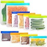Reusable Storage Bags - 10 Pack Leakproof Freezer Bags(2 Reusable Gallon Bags + 4 BPA FREE Reusable Sandwich Bags + 4 Reusabl