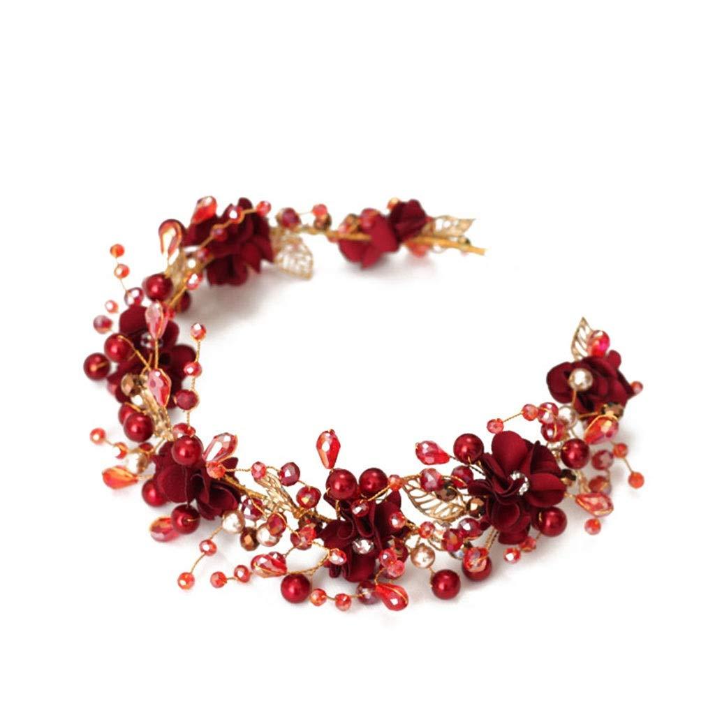 Wreath Flower Bride Tiara Red Ring Soft Headband Retro Wedding Dress Accessories Crown (Size : 45cm)